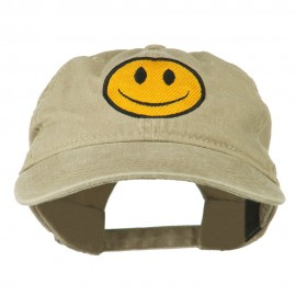 Smiley Face Embroidered Washed Cap - Khaki