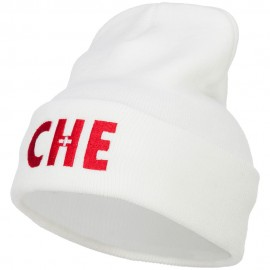 Switzerland CHE Flag Embroidered Long Beanie