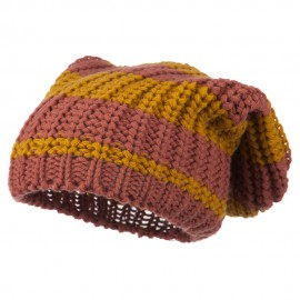 Two Tone Knit Deep Beanie