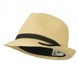 Thin Band with Button Straw Fedora