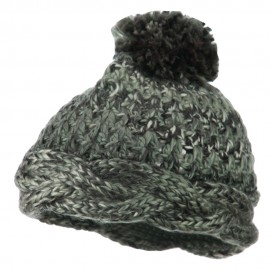 Twisted Bottom Pom Knit Beanie - Black
