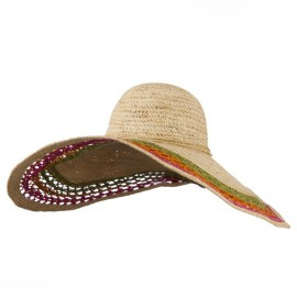 Tri Color Open Weave Straw Wired Brim Hat