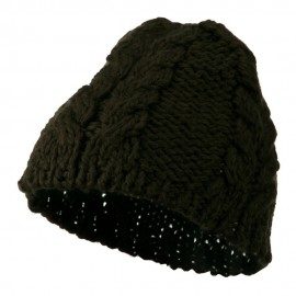 Thick Cable Knit Beanie Cap