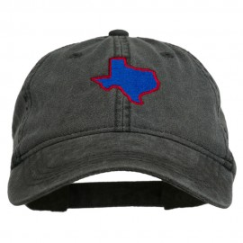Texas State Map Embroidered Washed Cotton Cap