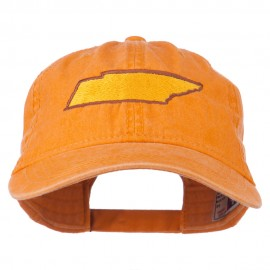 Tennessee State Map Embroidered Washed Cotton Cap - Orange