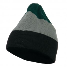 Three Colors Striped Knitted Beanie - Green