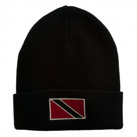 Trinidad Flag Embroidered Long Knitted Beanie