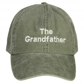 The Grandfather Embroidered Big Washed Cap - Olive