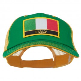 Italy Europe Flag Patched Big Size Washed Mesh Cap