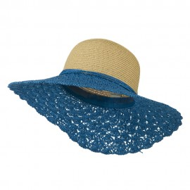 Two Tone Crocheted Sun Brim Hat - Blue