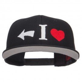I Heart Left Embroidered Cotton Snapback
