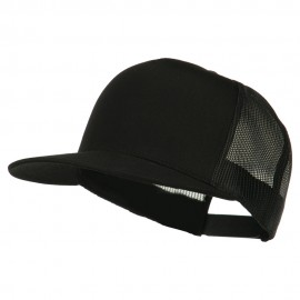 5 Panel Mesh Trucker Snapback Cap - Black