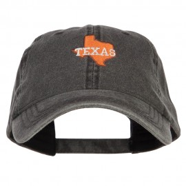 Texas State Map Embroidered Washed Cap