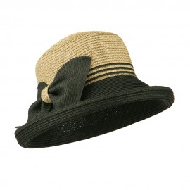 Two Tone Rolled Up Brim Sun Hat - Black