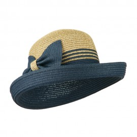 Two Tone Rolled Up Brim Sun Hat