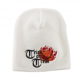 Trick or Treat Jack o Lantern Embroidered Short Beanie