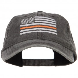 Thin Orange Line Silver USA Flag Embroidered Washed Cap