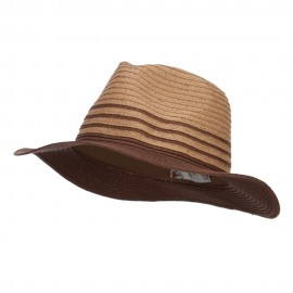 Two Tone Panama Hat - Brown