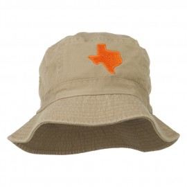 Texas State Map Embroidered Bucket Hat - Khaki