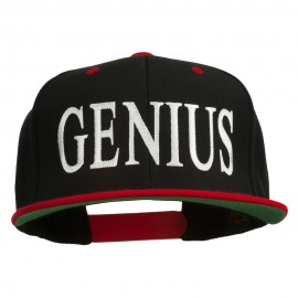 Genius Embroidered Two Toned Snapback Cap - Black Red