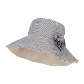 Checked Flower Accent Crushable Hat
