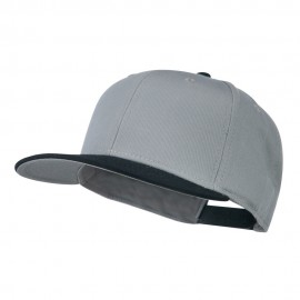 Two Tone Superior Cotton Twill Flat Bill Snapback Cap - Black Grey
