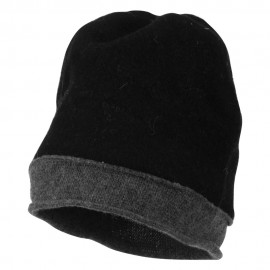 Two Tone Wool Beanie Cap - Black