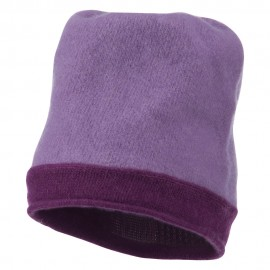 Two Tone Wool Beanie Cap - Lavender