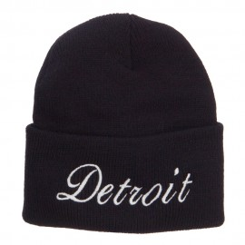 City of Detroit Embroidered Long Beanie - Black