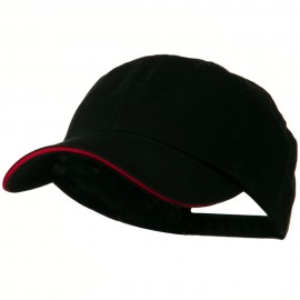 Low Profile Cotton Twill Cap - Black Red