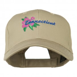 USA State Connecticut Flower Embroidered Low Profile Cotton Cap