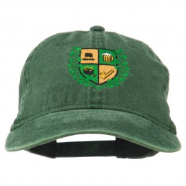St Patrick's Day Crest Embroidered Washed Cap