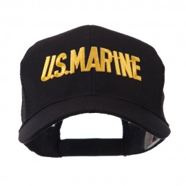 Military Related Text Embroidered Patched Mesh Cap