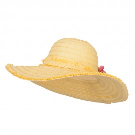 Flower Trim Fringed Brim Floppy Hat