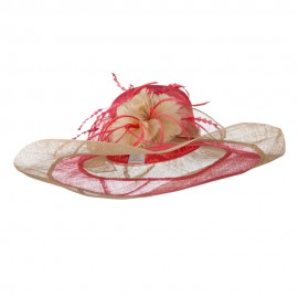 Two Tone Feather Flower Sinamay Hat
