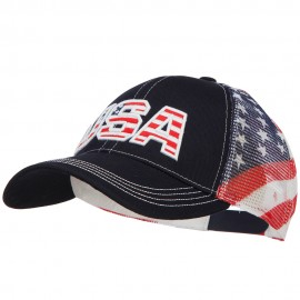 USA with Flag Cotton Twill Mesh Cap