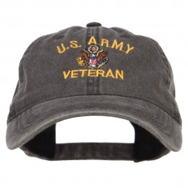 US Army Veteran Military Embroidered Washed Cap