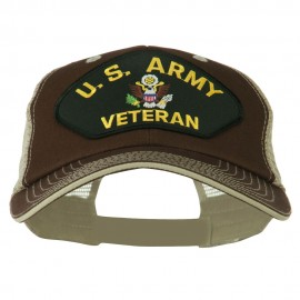 US Army Veteran Military Patched Big Size Washed Mesh Cap
