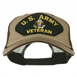 US Army Veteran Military Patched Big Size Washed Mesh Cap - Khaki Brown