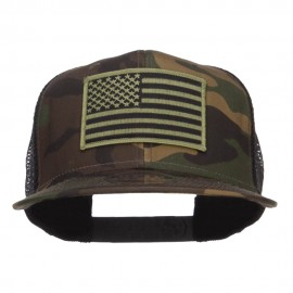 Subdued American Flag Patched Camo Snapback - Camo Black