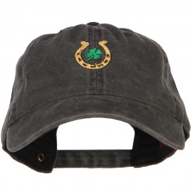 Lucky Irish Embroidered Washed Cotton Cap - Black