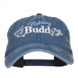 Fishing Buddy Embroidered Washed Cap - Navy