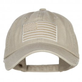 USA Flag Embroidered Washed Dyed Cap - Beige