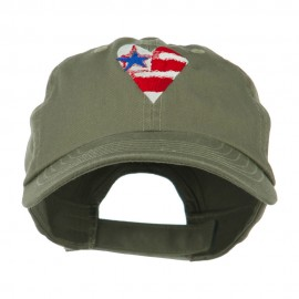 US Flag inside Heart Embroidered Cap
