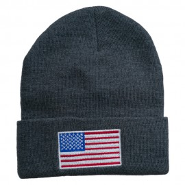 USA Flag Embroidered Long Knitted Beanie