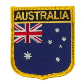 Asia and Australia Flag Embroidered Patch Shield