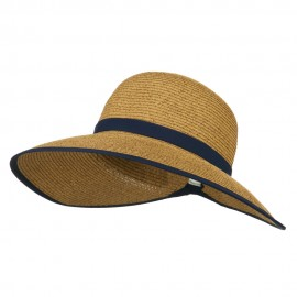 UPF 50+ Gardening Hat with Ribbon Trim Accent - Navy