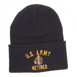 US Army Retired Military Embroidered Long Beanie - Black