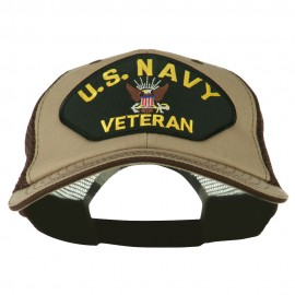 US Navy Veteran Military Patched Big Size Washed Mesh Cap