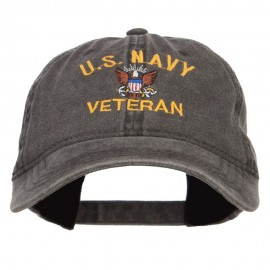 US Navy Veteran Military Embroidered Washed Cap - Black